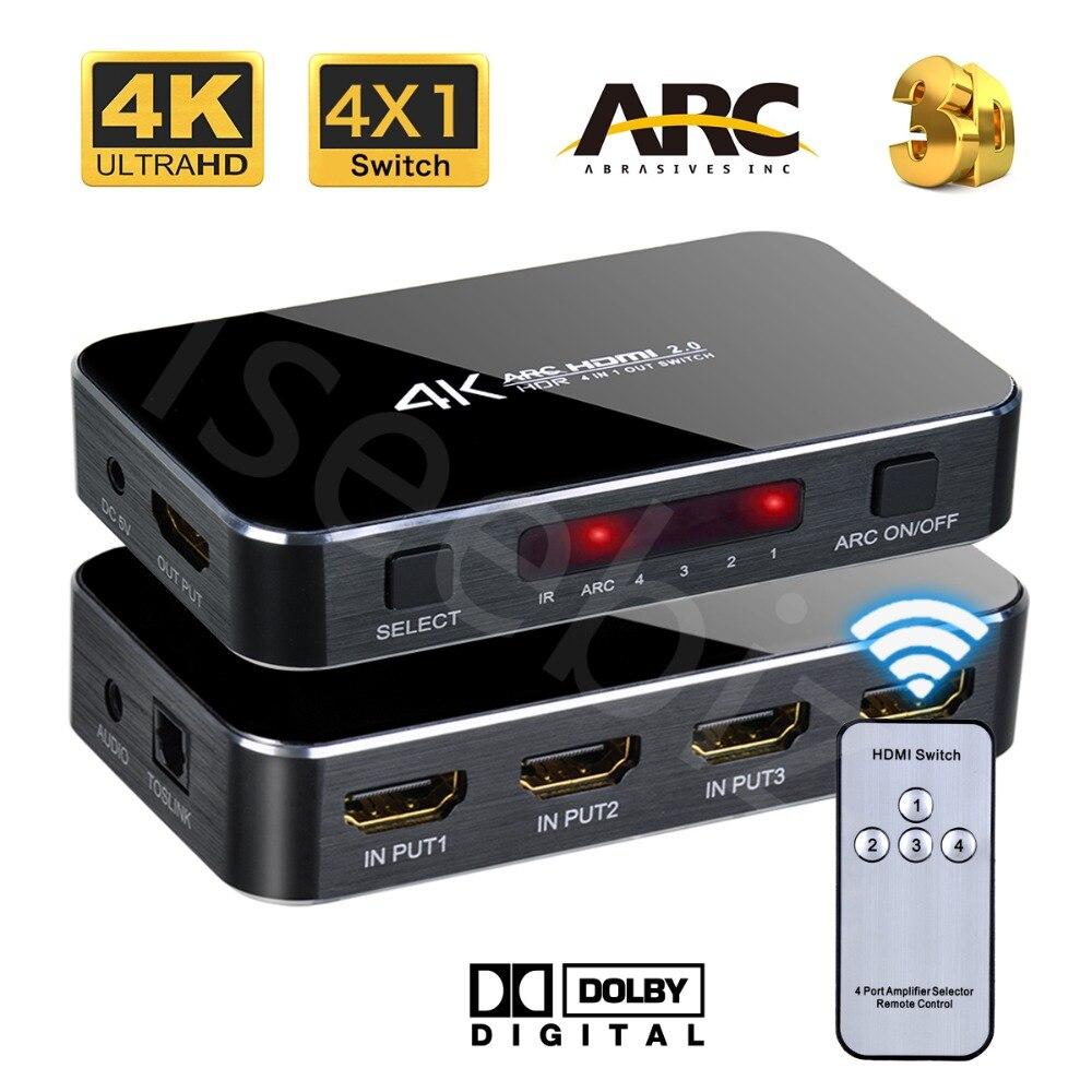 Iseebiz HDMI V2.0 4X1 Commutateur 4 k HD ARC Audio Optique TOSLINK HDCP 2.2 HDMI Switcher avec Télécommande contrôle pour PS4 HDTV Xbox 360