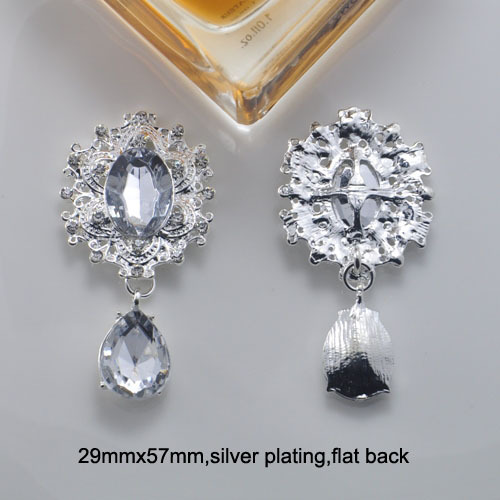(M0843) 29mmx57mm Rhinestone Metal Embellishment,silver Or Light Gold Plating  ,flat Back