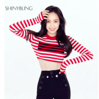 Sexy Crop Knitted Top Women 2017 Autumn Winter Fashion Striped Slim Sweater Pullover Long Sleeve Female