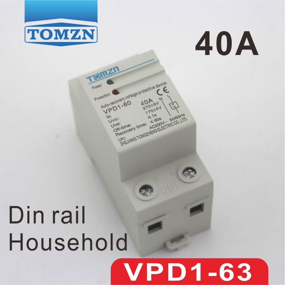 40A 230V Household Din rail automatic recovery reconnect over voltage and under voltage protective device protector 1pc 63a 230v self recovery automatic reconnect over