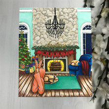 Naifumodo Dies Christmas Girls Stamps with Tree Metal Cutting for Scrapbooking New Arrival Card Making Clear Stamp