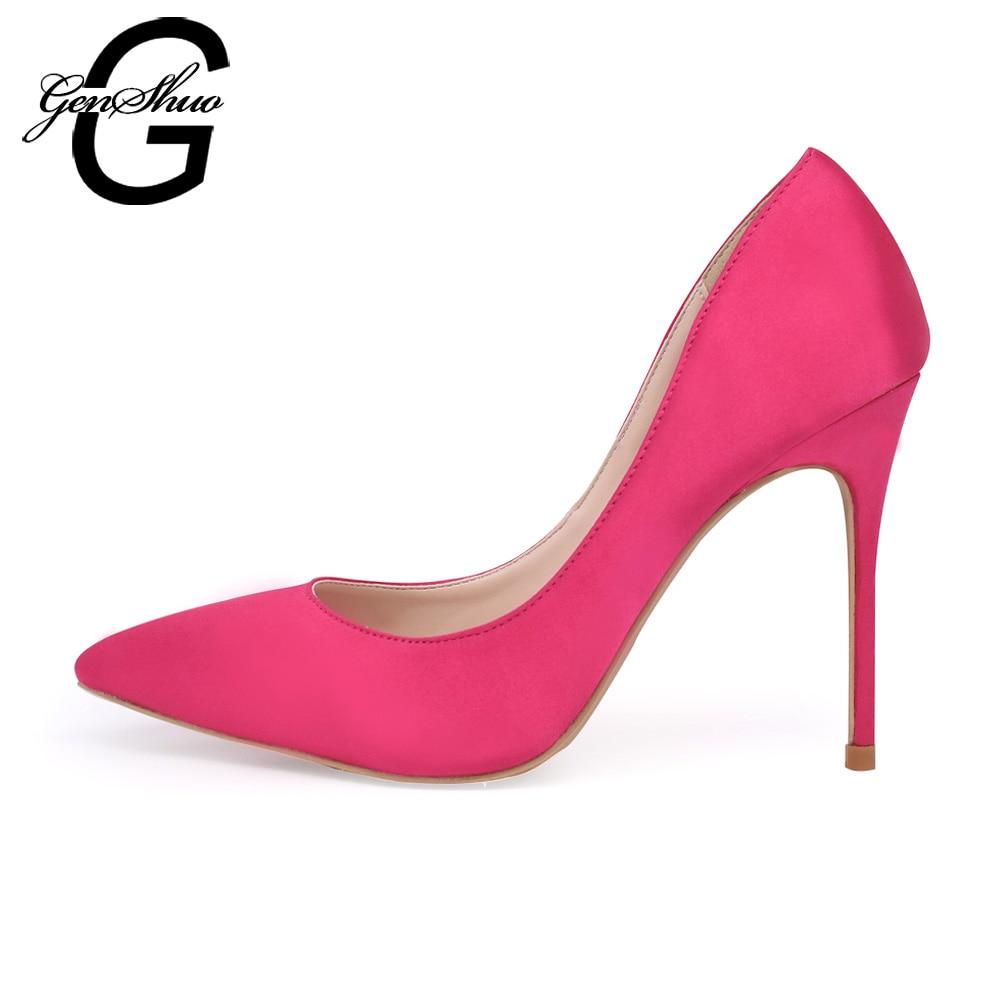 GENSHUO Brand Shoes Women High Heels Pumps 10CM Silk Heels Wedding Shoes Satin Pumps Pink Sexy Party Heels Big Size