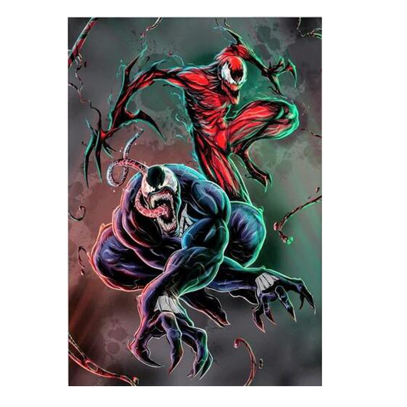Full SquareRound Drill 5D DIY Diamond Painting VENOM and CARNAGE Embroidery Cross Stitch Mosaic Home Decor Gift