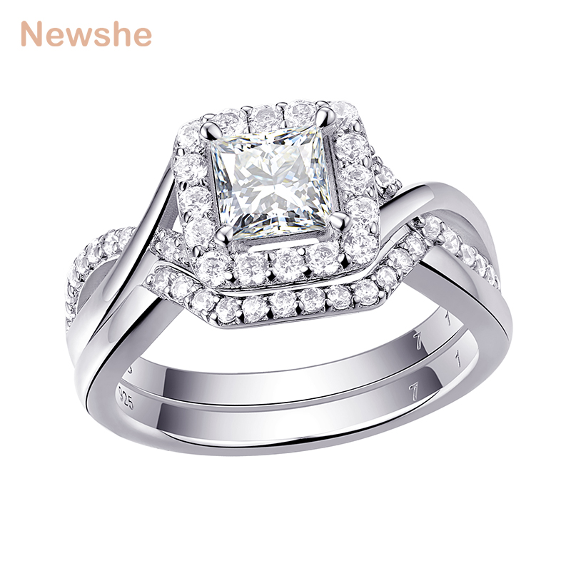 Newshe 1Ct Princess Cut CZ Solid 925 Sterling Silver Wedding Ring Sets Engagement Band Trendy Jewelry For Women 1R0005