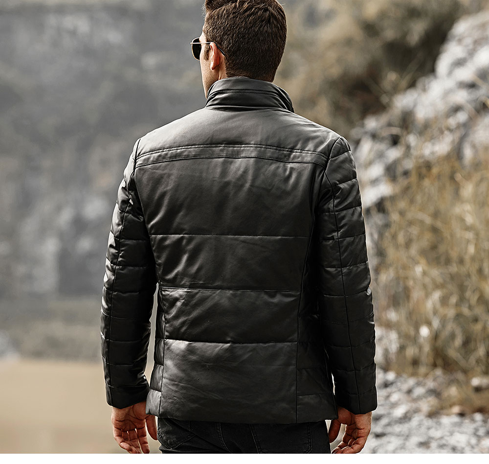 HTB1iWYZlvImBKNjSZFlq6A43FXaj FLAVOR Men's Real Leather Down Jacket Men Genuine Lambskin Winter Warm Leather Coat with Removable Standing Sheep Fur Collar