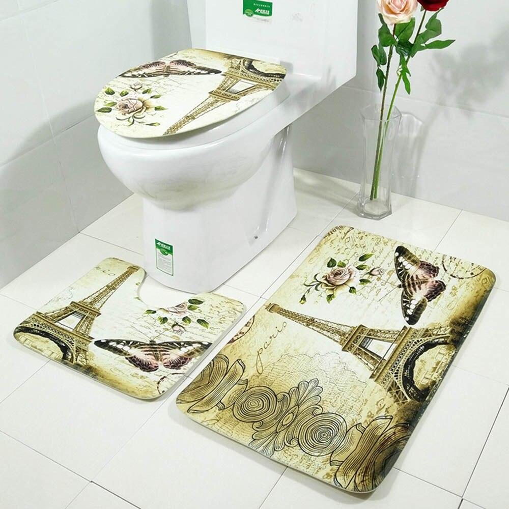 New Cut Cartoon BathroomButterfly Animal Pattern Bathroom Set Carpet ...