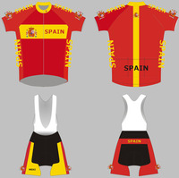 Newest design national spain hot selling bicycle cullot racing jersey maillot made from polyester and lycra italy ink 9D gel pad