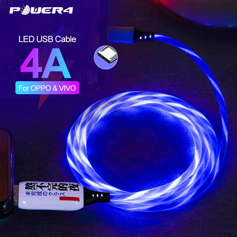 Power4 Glowing Micro USB Cable Charger Fast For OPPO VIVO 4A LED Micro USB Data Line For Android Phones Charger Support VOOC|Mobile Phone Cables|   - AliExpress