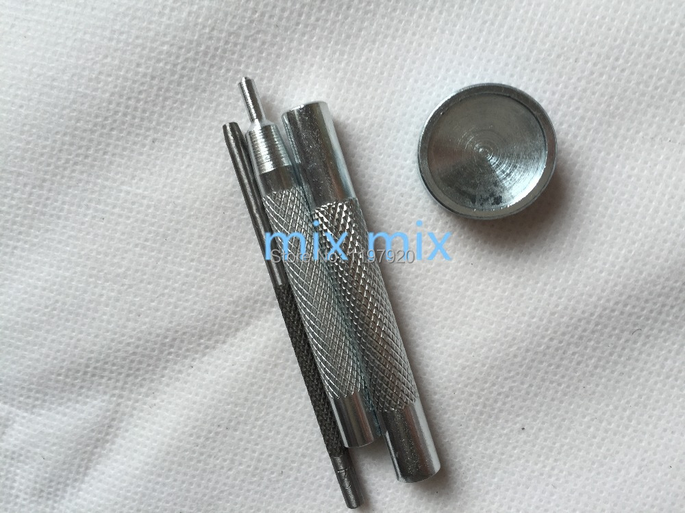 Silver Metal Snap Fastener Leather Rapid Rivet Button Craft Setting Tool Set
