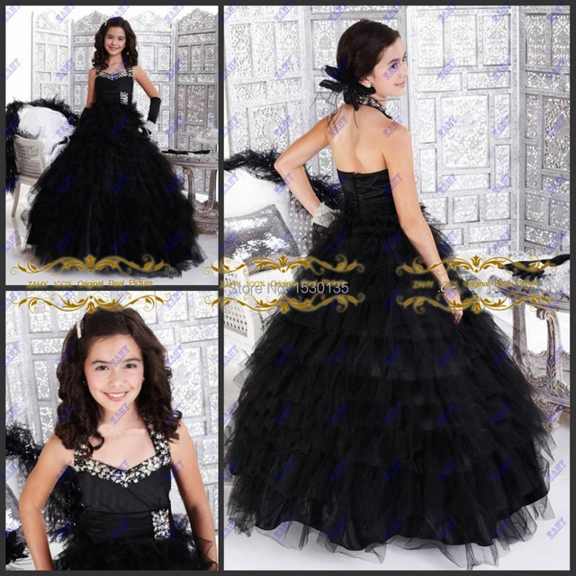 Free Shipping Crystal Beaded Ball Gowns Girls Pageant Dresses Ritzee ...