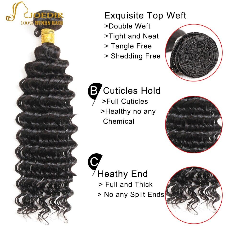 Joedir Hair Deep Wave 360 Snörning Frontal Closure With - Skönhet och hälsa - Foto 2
