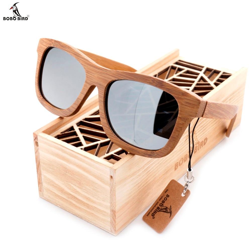 BOBO BIRD 100% dabīgi bambusa koka saulesbrilles ar rokām darināti polarizēti spoguļu pārklājumi ar briļļu lēcām.