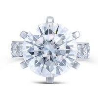 TransGems 10 Carat Lab Grown Moissanite Diamond Ring 14K White Gold Fashion Jewelry Rings For Woman