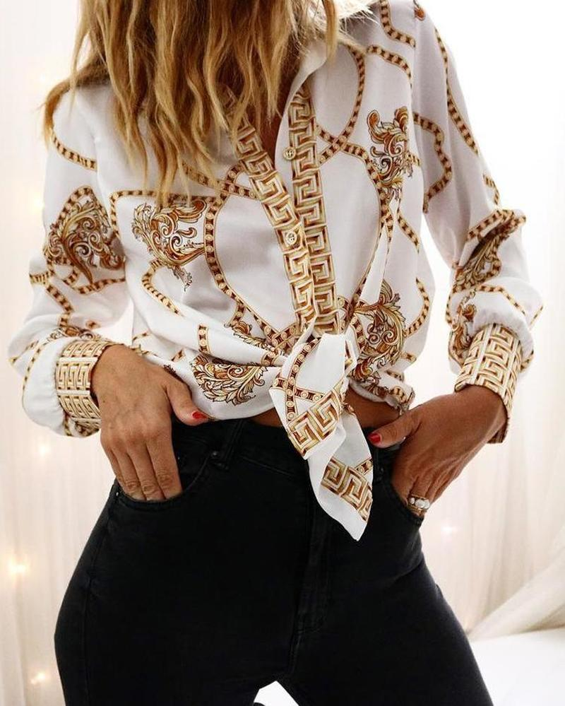 Women Chain Print Long Sleeve Casual   Shirt     Blouse   Workwear Office Lady Elegant Turn Down Collar   Blouse     Shirt   2019