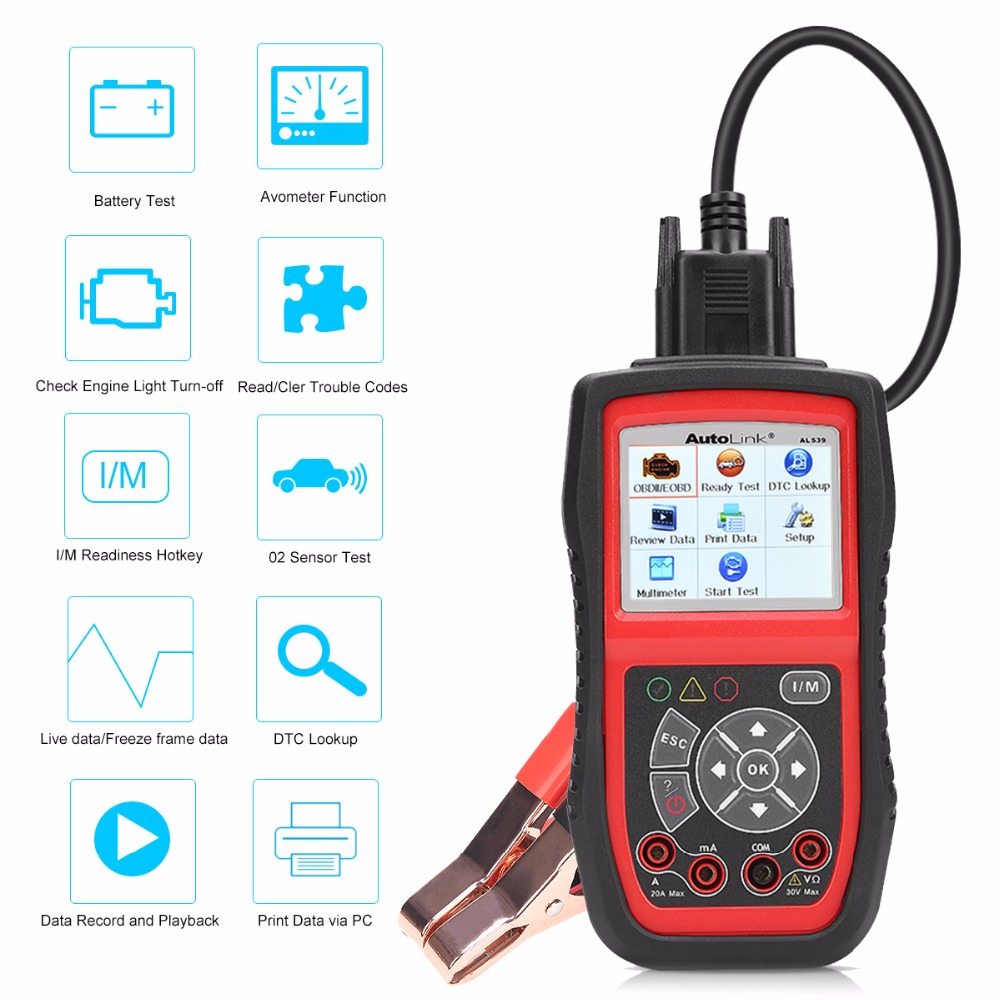 US $95 99 20% OFF|Autel Autolink AL539B OBD2 Scanner Car Diagnostic Tool  AVO Meter Battery Electrical Test OBDii Code Reader Automotive PK AL539-in