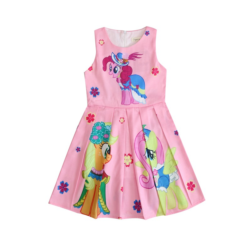 3-10Y New My Little Baby girls dress Pony Print Cotton Vestidos Dress Princess Costume for Kids Clothes Children Party Dresses 2018 new fashion little girls summer floral dress print flowers loose casual party dress for gril cotton children kids clothes