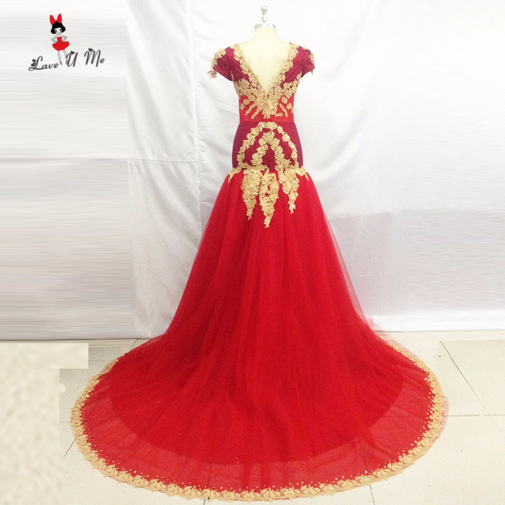 Robe De Soiree 2017 Elegant Red Formal Evening Gowns For Women Cap Sleeve Gold Lace Mermaid Prom Dresses Special Occasion Abiye In Many Styles