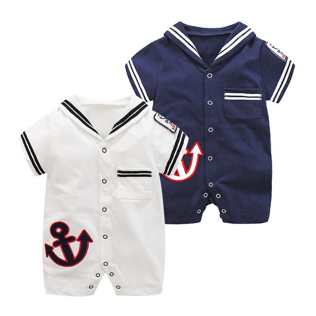 91784850b Baby Girls Rompers Summer Newborn Baby Navy Suit Cotton Short Sleeve ...