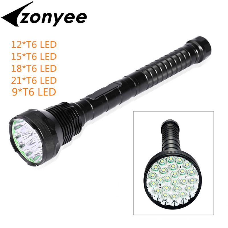 XML-T6 High Power T6 LED 9/12/15/18/21 XM-L T6 LED Flashlight Torch Lamp Light Lantern 18000-40000Lumens Flashlight Travel Light new flashlight 18000 lumens high power 15x xml t6 led torch 1000m lighting distance hunting light by 4x 26650 battery