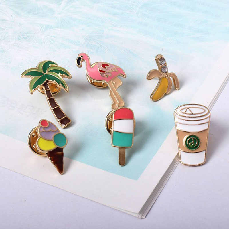 1 PCS Summer Amorous Feelings Badge  Coco Flamingos Coffee Cup Shaped Pin Badges Backpack Decoration