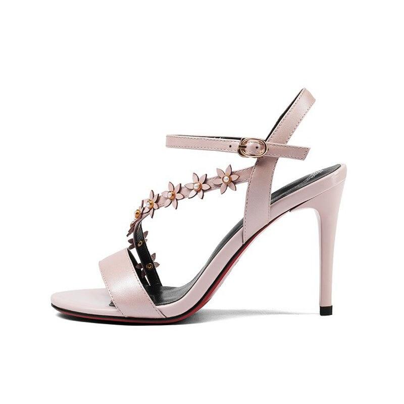 Véritable Haut Stiletto En Mode Ol Rose pink Blanc De Appliques Cuir Sandales Fleur Mariage White Dames 2019 Chaussures Parti Mince Talon Nouvelle Robe Y8P5qqv
