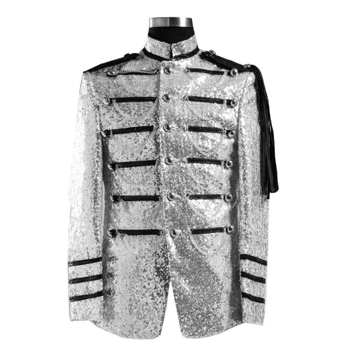 Blazer men formal dress latest coat pant designs suit men costume royal sequins marriage wedding suits for mens silver red
