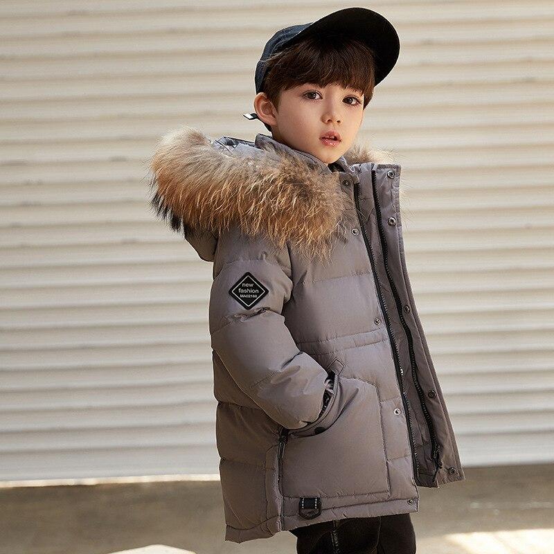 -30 degrés enfant en bas âge garçon hiver manteau Outwear duvet de canard épais chaud enfants doudoune Parkas grand col de fourrure enfants neige porter Z593