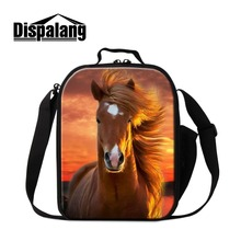 Dispalang Horse Picture Portable Lunch Bag Guys Unicorn Printed Insulated Cooler Pouch Girls Messenger Lunch Container for Kids dispalang cute ballet girls school backpack and lunch pouch set pretty bookbag insulated cooler bag for children pencil case kid