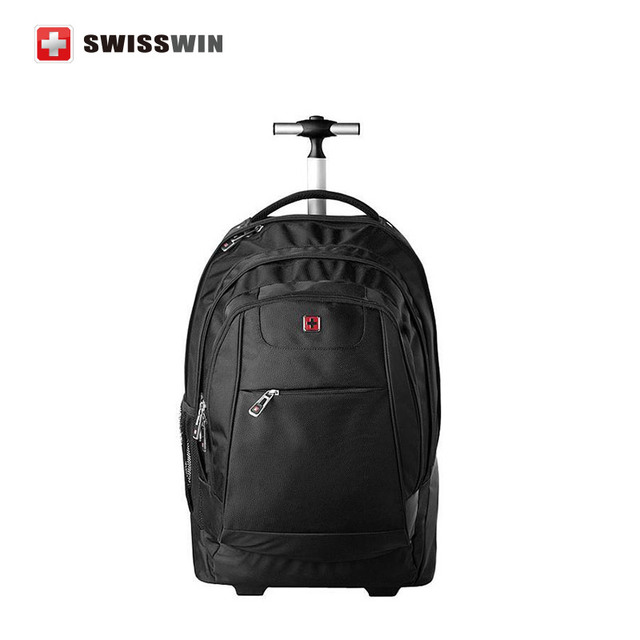 Swisswin Wheeled Laptop Backpack For Business Travel Rolling Trolley Fashion Waterproof 17 3 Notebook