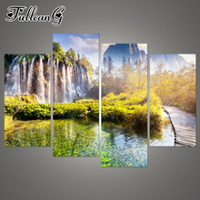 FULLCANG diy diamond painting 4 panel landscape waterfall full square/round drill 5d mosaic embroidery natural scenery FC1024