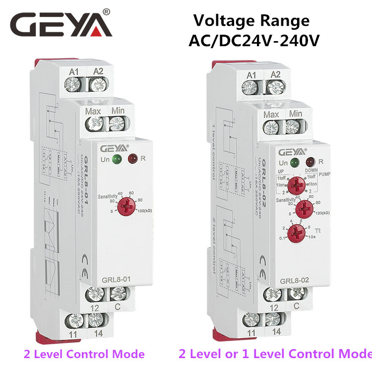 10PCS Online Free Shipping GEYA GRL8 Liquid Level Control Relay Electronic Liquid Level Controller 10A ACDC24V-240V