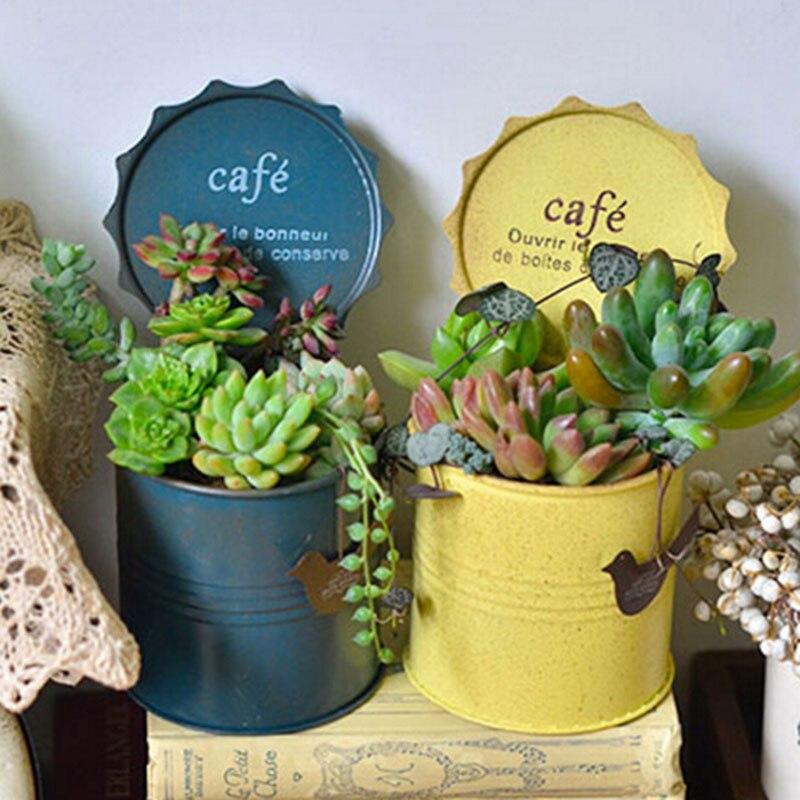 Metal Flower Pots Planters Flower Vases Vintage Finish Desktop Organizer Home Decoration Pillar Shape Pots