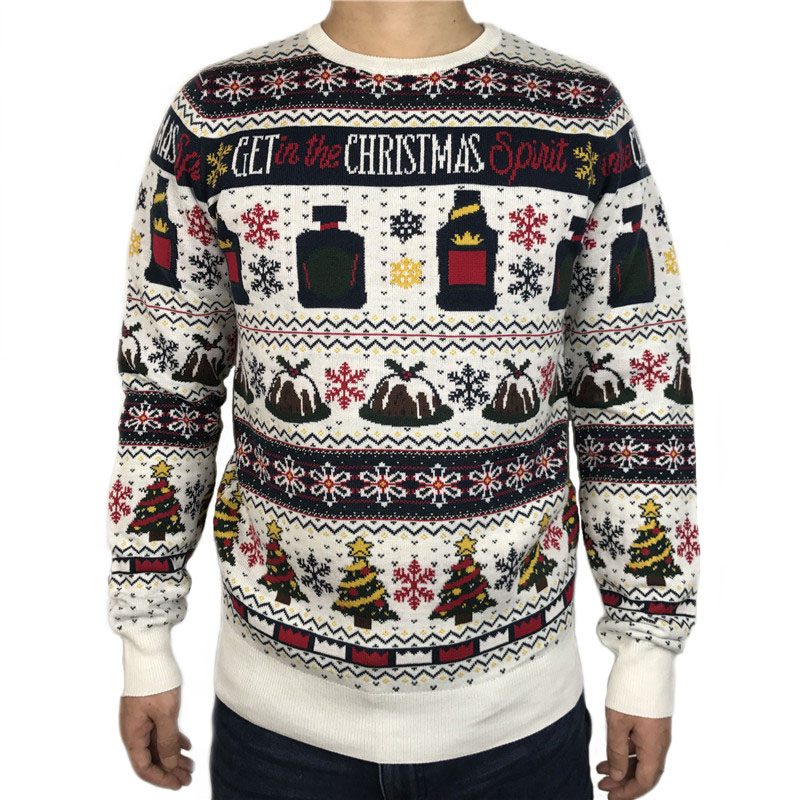 Funny Get In The Christmas Spirit Ugly Christmas Sweater For Men And Women Tacky Drinker Xmas Pullover Jumper Oversized S-2XL