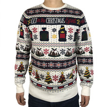 Funny Get in the Christmas Spirit Ugly Sweater for Men and Women Tacky Drinker Xmas Pullover Jumper Oversized S-2XL