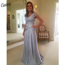 Modest V-Neck Long Mermaid Mother Of The Bride Dresses Criss Cross Chiffon Pleat Appliques Lace Formal Evening Party Dresses