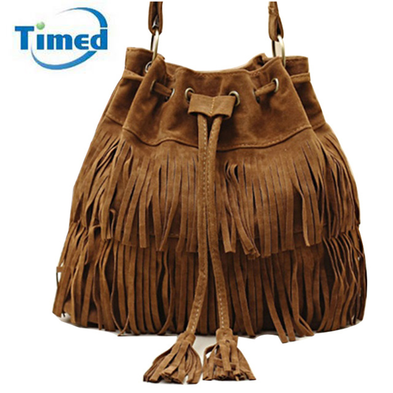 2017 New Suede Drawstring Bucket Bag Fashion Tassel Shoulder Bags Women Handbag Faux Fringe Crossbody Messenger Bag For Female vvmi 2016 new women handbag brand design rivet suede tassel bag chic classic vintage saddle bag single shoulder bag for female