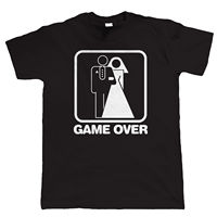 Game Over Wedding Mens Funny Stag Hip Hop Simple Splicing Tee Tops Shirt