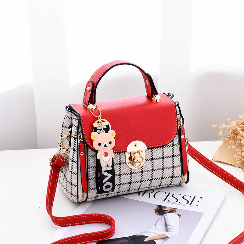 LANVERA brand women solid plaid totes hasp bear hanging flap handag hotsale lady evening purse messenger crossbody shoulder bags 2