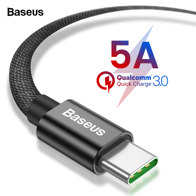 Baseus 5A USB Type C Cable For Samsung S9 Huawei Mate 20 Pro Xiaomi Mi 8 Oneplus 6T iPad Pro Quick Charge 3.0 USB C Type-C Cable