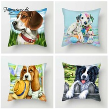 Fuwatacchi Cartoon Style Cushion Cover Cute Puppy Dogs Cats Kitty Elephant Printed Pillow Decorative Pillows For Sofa Car
