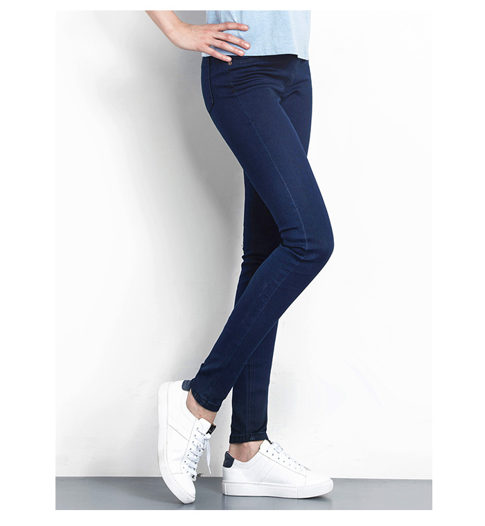 LEIJIJEANS Fashion Autumn Leggings Blue S 6XL Woman Mid Waist Plus Size women High Elastic Full Length Pants Skinny pencil Jeans 11