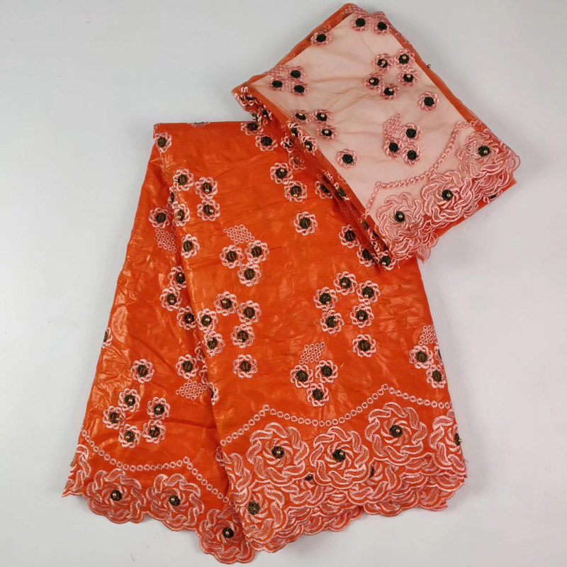 Rock & Pop 5+2 Yards /set High Quality African Bazin Lace Fabric In Orange With Elegant Embroidery Plus Scarf Lace For Party Dress Blw14