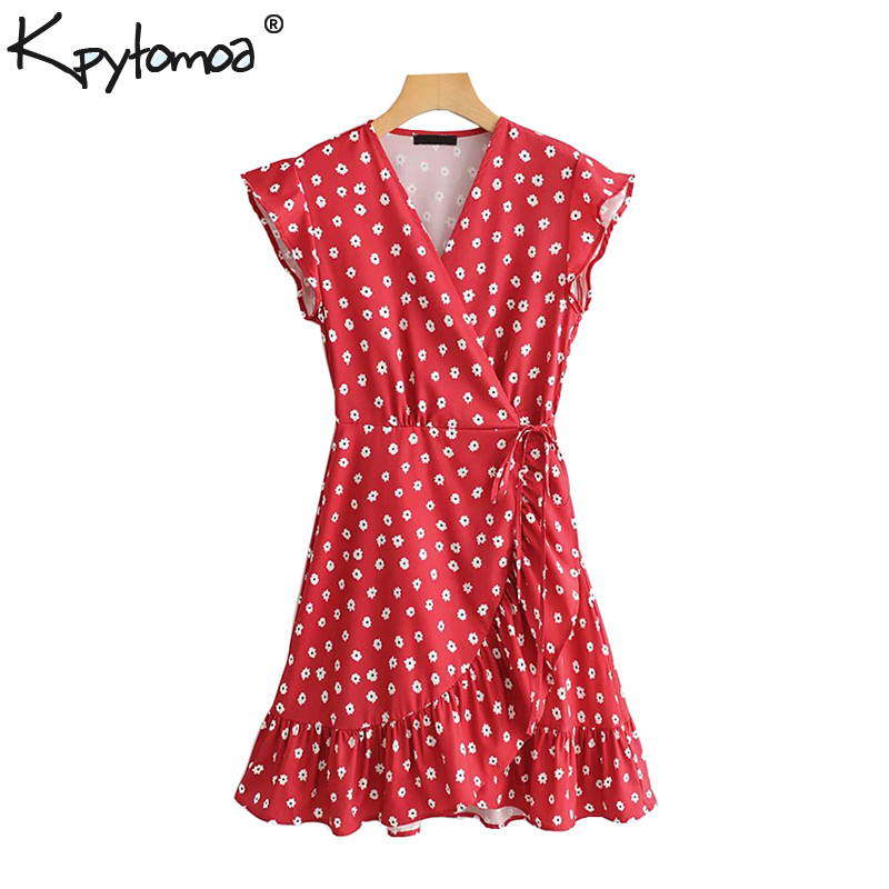Vintage Stylish Floral Print Ruffled Wrap Mini Dress  Women 2019 Fashion Sleeveless Bow Tie Ladies Dresses Casual Vestidos Mujer-in Dresses from Women's Clothing 1
