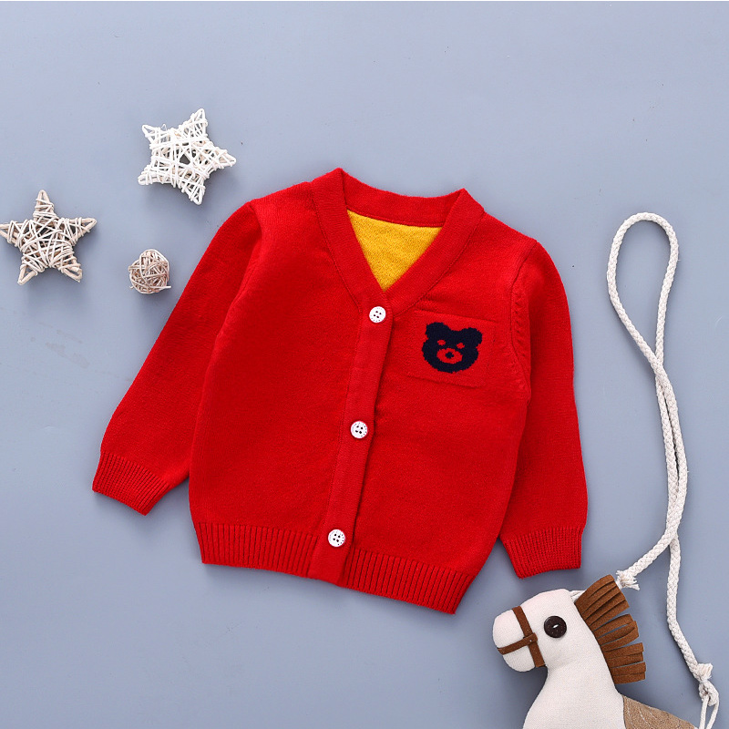 Bear Cute Baby Sweater Cardigan Cotton Knitted Sweater For Newborn Girls V-Neck Long Sleeve Baby Cardigan Outdoor Sweater Autumn (5)