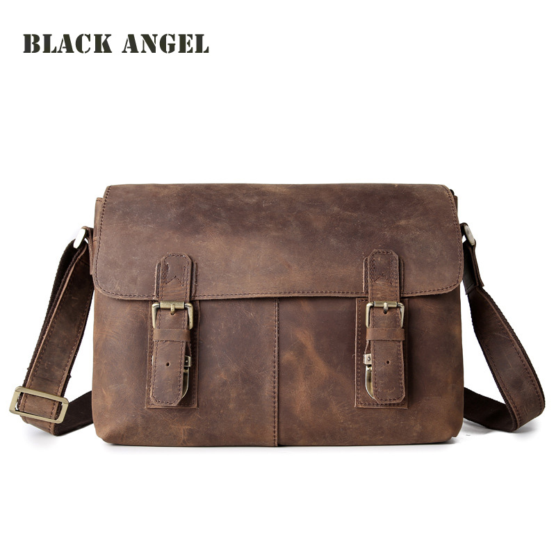 BLACK ANGEL vintage crazy horse leather mens messenger bags cowhide genuine leather crossbody bag business casual shoulder bag