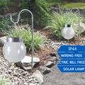 2 pçs/lote 2LED RGB Ao Ar Livre CONDUZIU a Luz Solar Do Jardim À Prova D' Água/Branco Luzes de Suspensão Bola de Vidro para Decoração de Jardim Gramado caminho Da Lâmpada