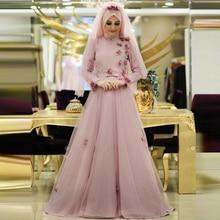 Muslim Evening Dresses Formal Women Kaftan Long Sleeve With Hijab 2017 Flower Turkish Islamic Women Party Dress Custom Made