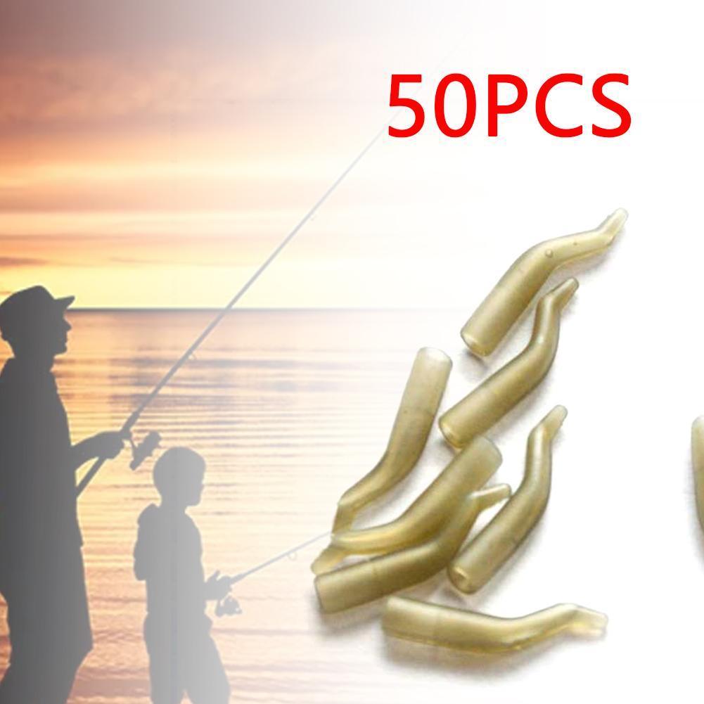 50Pcs/Lot Fishing Rig Aligner Sleeve Hair Rig Line Aligner Sleeves Soft Anti Carp Fishing Accessories For Pesca