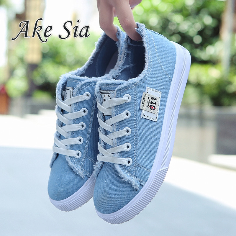 Ake Sia Canvas shoes women casual flats 2017 trendy Korean version lace-up fashion female spring/autumn shoes solid white shoes vintage embroidery women flats chinese floral canvas embroidered shoes national old beijing cloth single dance soft flats