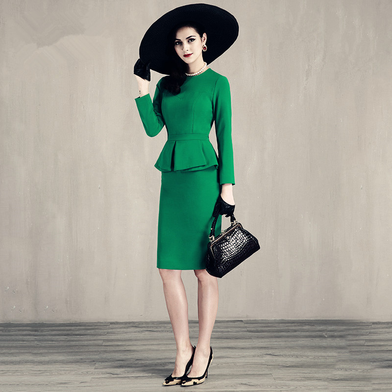 91ea7d2bed Aliexpress.com   Buy 30 women vintage 50s green black long sleeve peplum wiggle  pencil dress office work dresses elegant plus size vestido jurken from ...